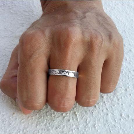 Anello Uomo in Oro bianco e diamante | Numeri Romani