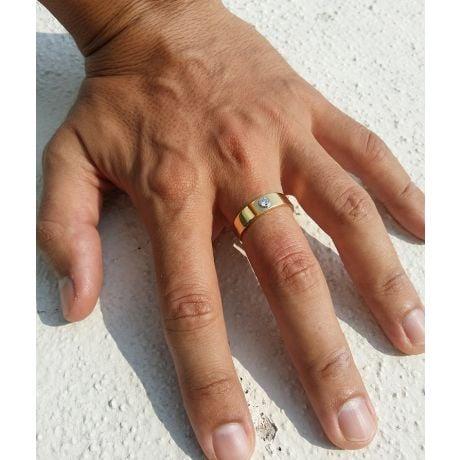 Anello per Uomo Scapin - Oro Giallo & Bianco con Diamante Solitario | Gemperles
