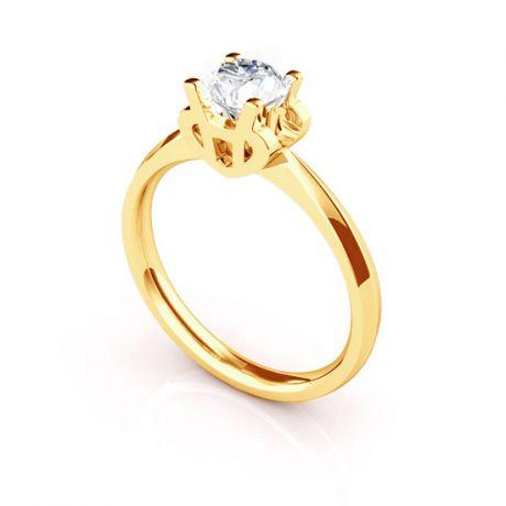 Anello Solitario Lettera Alfabeto H - Oro Giallo e Diamante | Gemperles