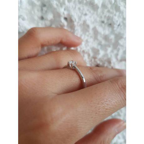 Anello Solitario Lettera Alfabeto N - Oro Bianco e Diamante | Gemperles