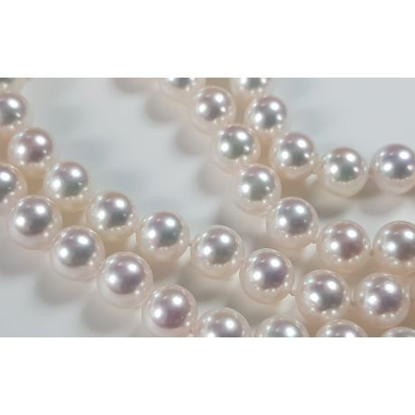 Collier double rang perle Akoya blanche. 7/7.5mm, AAA I Suki