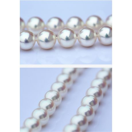 Collier grosse perle Akoya du Japon. Perles fines blanches. 8.5/9mm