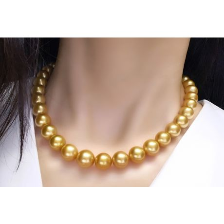 Collana Clothilde - Perle Coltivate Dorate Gold dei Mari del Sud