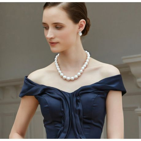 Collier Marie Antoinette Haute joaillerie. Perles d'Australie blanches 15/17mm