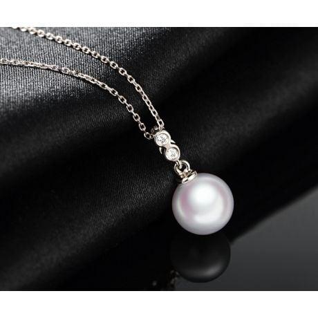 Ciondolo Dozen - Oro Bianco, Diamanti e Perla Akoya