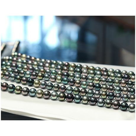 Collier en perles multicolores de Tahiti - 9/11mm, AAA