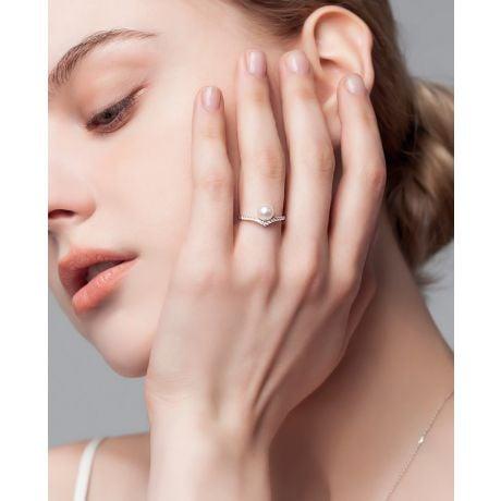 Anello Réflexion - Oro Bianco, Diamanti & Perla Akoya