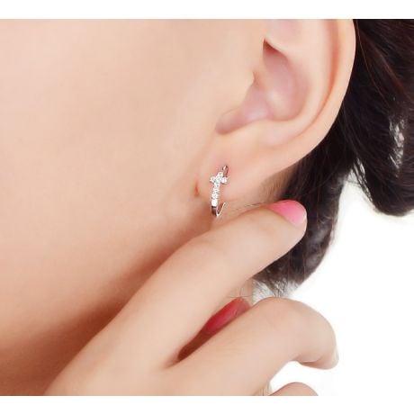 Orecchini Croci Diamantate - Pendenti Croce in Oro Bianco & Diamanti