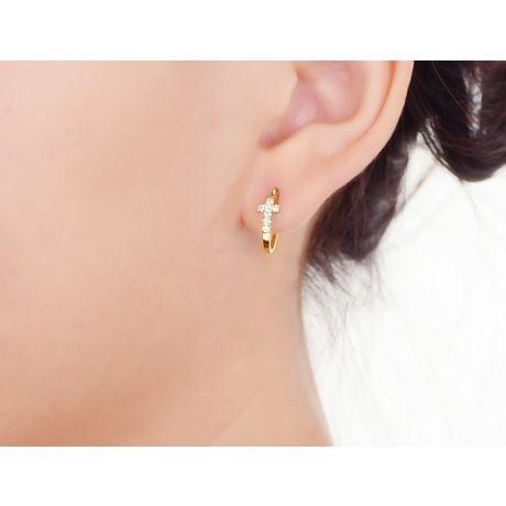 Orecchini Monachella religiosi. Croci diamantate in oro giallo