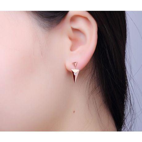 Orecchini pendenti Klara. Triangolo Oro rosa & Diamanti | Gemperles