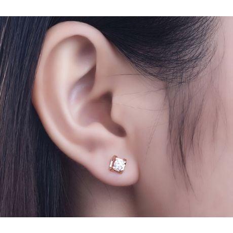 Orecchini Pasha - Punto Luce da Donna in Oro Rosa con Diamanti