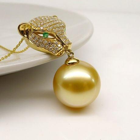 Ciondolo Pantera Perla Australia dorata. Oro giallo e Diamanti