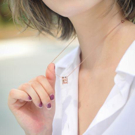 Pendentif mon Chou. Cylindre Or rose et Diamants