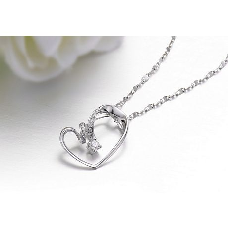 Pendentif coeur - Aile de papillon - Diamants, or blanc