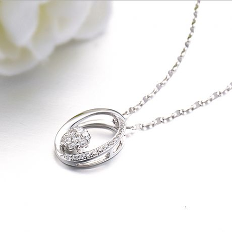 Ciondolo O - Oro bianco e diamanti 0.190ct