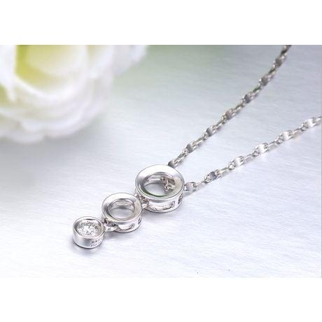 Pendentif contemporain or blanc en O - Diamant serti clos de 0.10ct