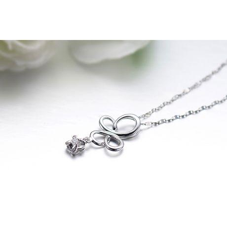 Ciondolo diamante solitario - Farfalla in oro bianco