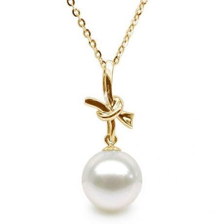 Pendentif noeud en or jaune - Perle de culture eau douce blanche