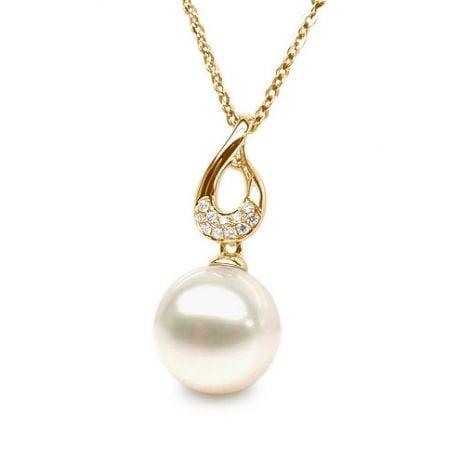 Ciondolo Twist - Oro Giallo, Diamanti e Perla di Fiume