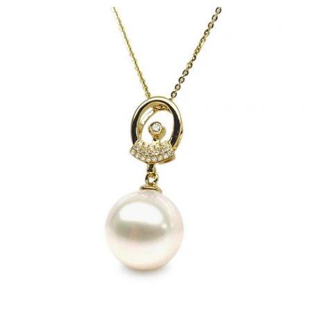 Pendentif hublot de bateau - Or jaune et perle de culture - Diamants