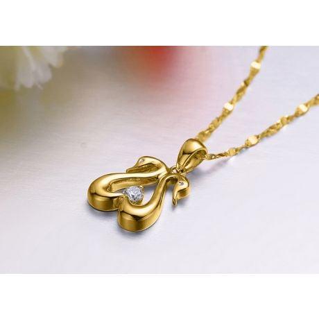 Ciondolo coppia di cigni - Diamante e oro giallo