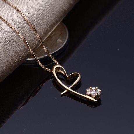 Pendentif coeur en papillon - Or jaune et diamants 0.15ct
