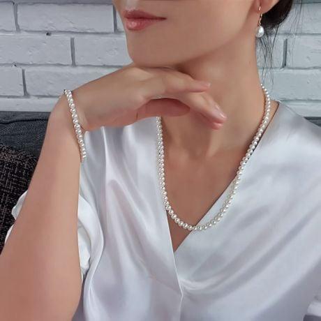 Parure de Mariage, Perles de culture Blanches, Or jaune
