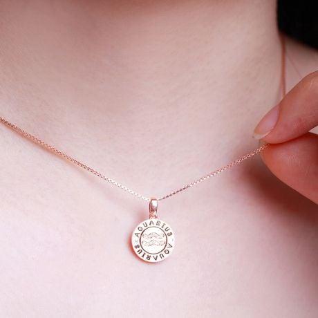 Pendentif signe astrologique verseau - Or rose, diamant