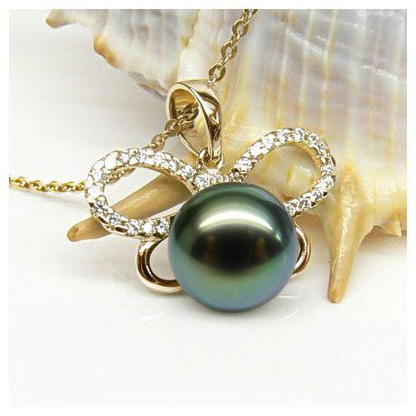 Pendentif papillon - Perle de Tahiti bronze foncée - Or jaune, diamants