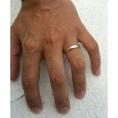 Fede Nuziale da Uomo Landry - Fedina Oro Rosa, Diamante