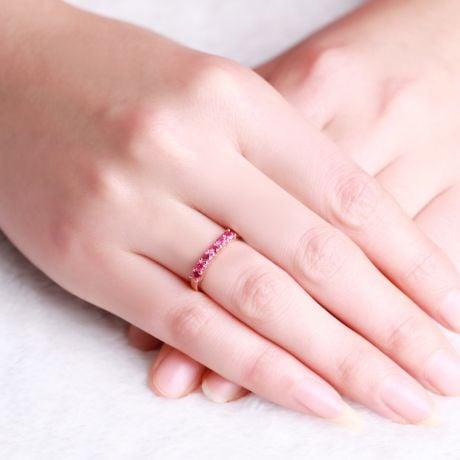 Bague rubis or rose - Anneau pavé de 6 rubis