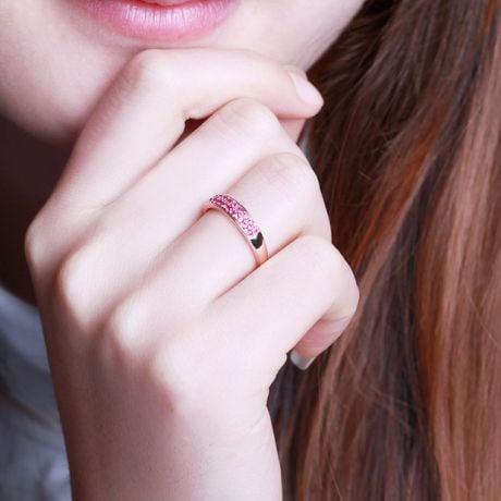 Anello in oro rosa mezzo giro di rubini - Pavé su due file di gemme