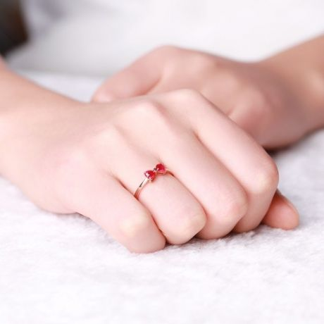 Bague or rose rubis taille coeur - Noeud papillon