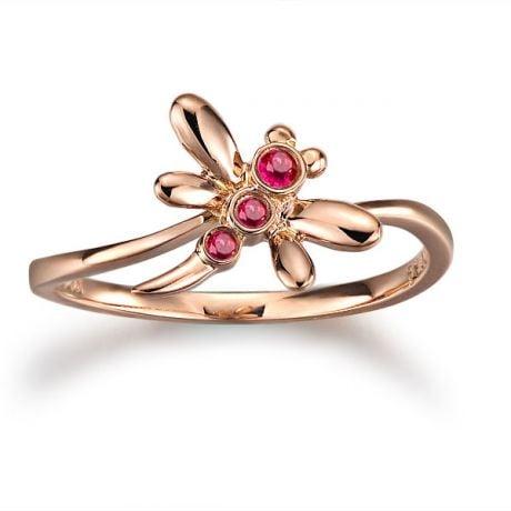 Anello libellula in oro rosa e rubini