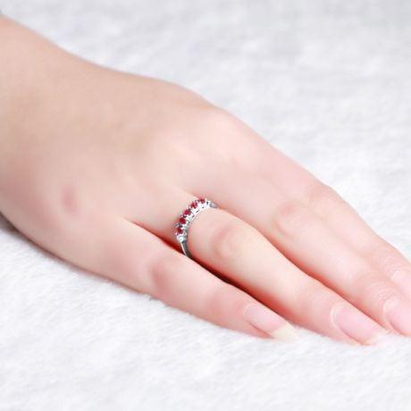Anello rubini e diamanti - Sofisticato e glamour - Oro bianco