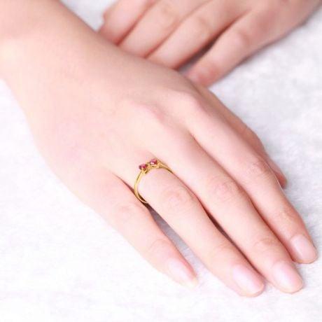Anello Di Fidanzamento Fiocco Cuori - Oro Giallo, Diamanti & Rubini Birmani