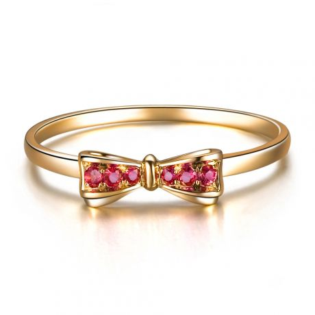 Bague noeud papillon - Or jaune, rubis