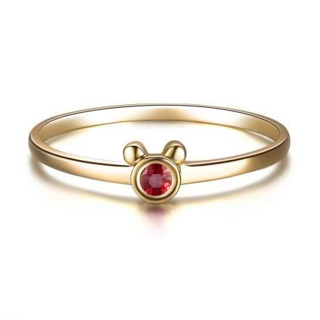 Bague solitaire rubis - Or jaune 18 carats - Mon petit ourson