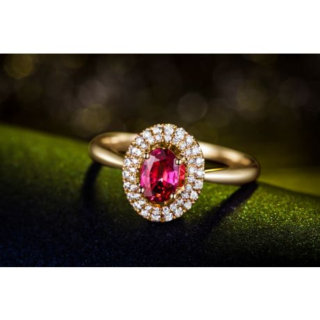 Bague de fiançailles rubis diamants et or jaune - Forme ovale