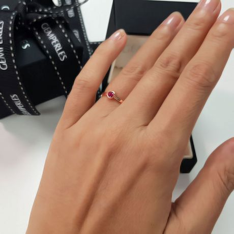 Bague anneau solitaire en rubis - Or rose 18cts - Sertissage clos