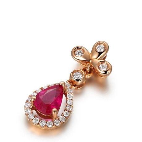 Pendentif croix latine or rose - Rubis et diamants en pendeloque
