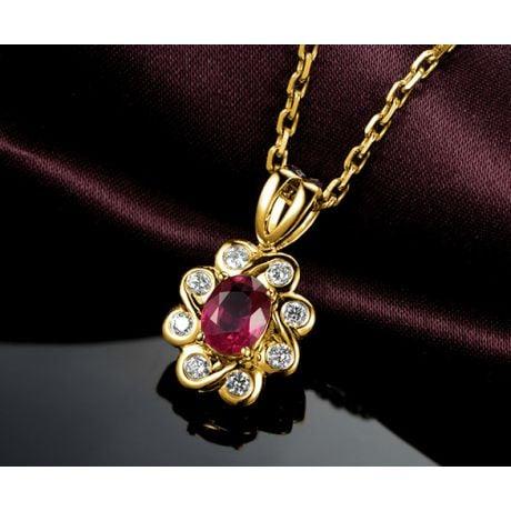 Pendentif fleur rubis diamant en Or jaune