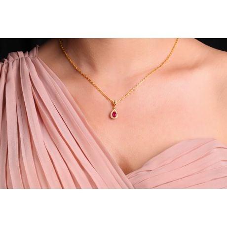 Ciondolo principessa Oro rosa 18ct - Rubino taglio pera e diamanti