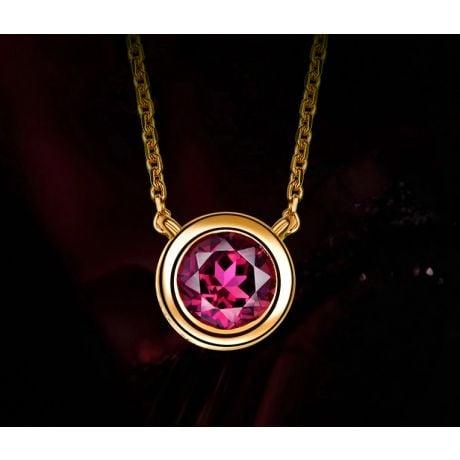 Collier pendentif solitaire rubis Or jaune