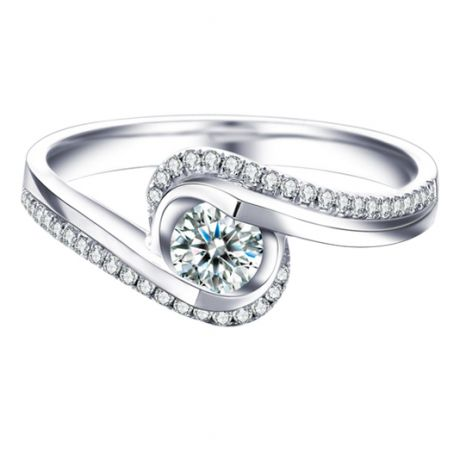 Solitaire A Une Passante -  Diamants & Or Blanc - Baudelaire  | Gemperles