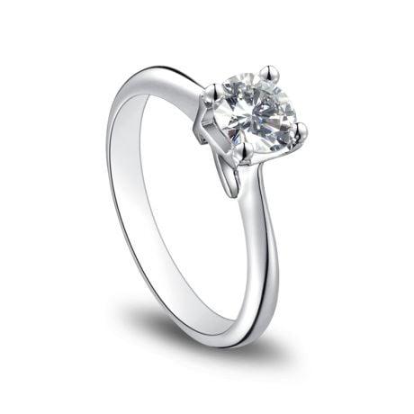 Anello Solitario Lettera Alfabeto K - Oro Bianco e Diamante | Gemperles