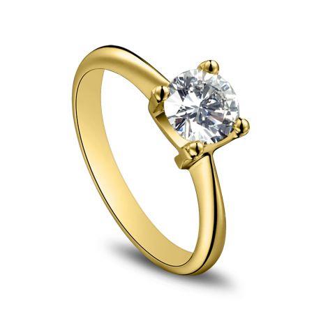 Anello Solitario Lettera Alfabeto N - Oro Giallo e Diamante | Gemperles