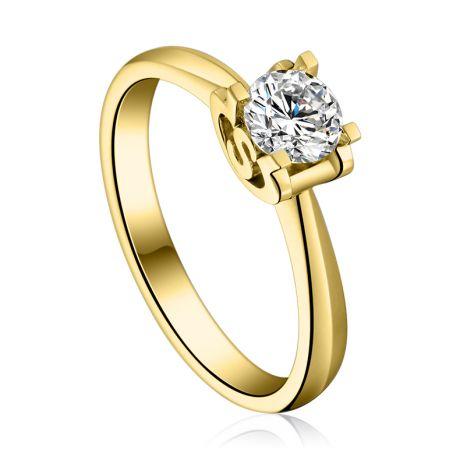 Anello Solitario Lettera Alfabeto S - Oro Giallo e Diamante | Gemperles