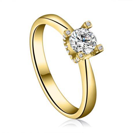 Anello Solitario Lettera Alfabeto U/C - Oro Giallo e Diamante | Gemperles