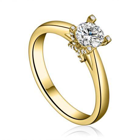 Anello Solitario Lettera Alfabeto X - Oro Giallo e Diamante | Gemperles